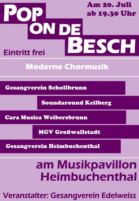 Plakat Pop on de Besch 2019